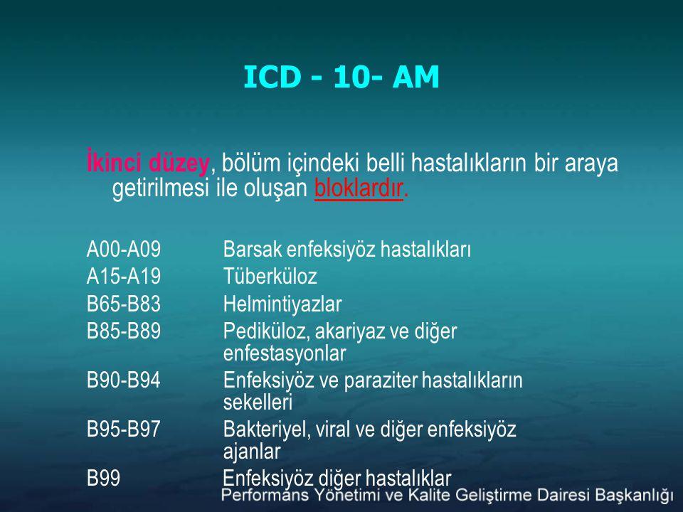 ICD - 10- AM İkinci düzey, bölüm içindeki belli hastalıkların bir araya getirilmesi ile oluşan bloklardır.