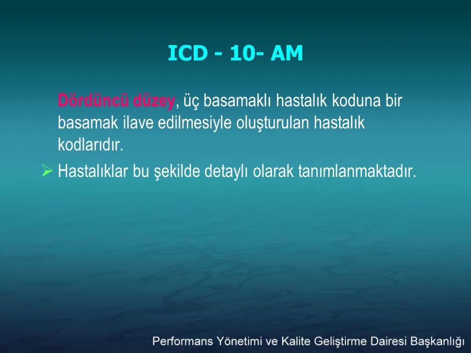 ICD - 10- AM Dördüncü düzey, üç basamaklı hastalık koduna bir basamak ilave edilmesiyle oluşturulan hastalık kodlarıdır.