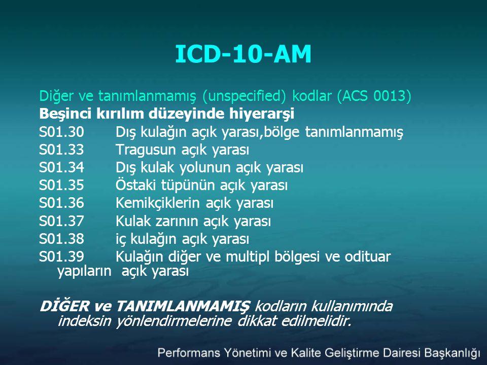 ICD-10-AM Diğer ve tanımlanmamış (unspecified) kodlar (ACS 0013)