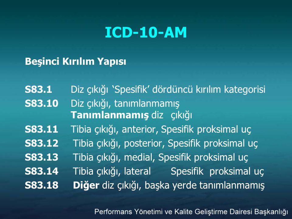 ICD-10-AM Beşinci Kırılım Yapısı