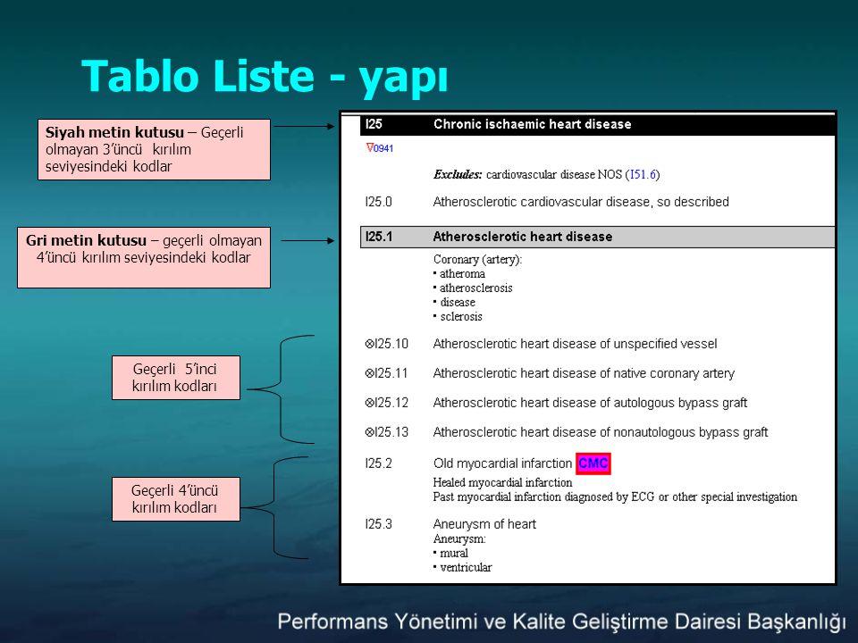 Tablo Liste - yapı Siyah metin kutusu – Geçerli olmayan 3'üncü kırılım seviyesindeki kodlar.