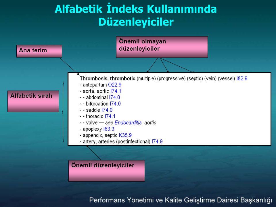 Alfabetik İndeks Kullanımında Düzenleyiciler