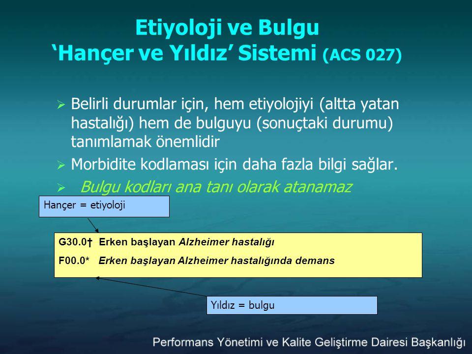 Etiyoloji ve Bulgu 'Hançer ve Yıldız' Sistemi (ACS 027)