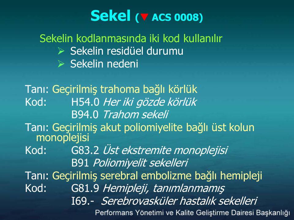 Sekel ( ACS 0008) Sekelin kodlanmasında iki kod kullanılır