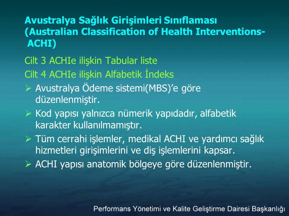 Avustralya Sağlık Girişimleri Sınıflaması (Australian Classification of Health Interventions- ACHI)