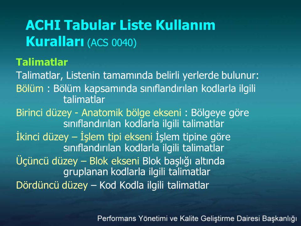 ACHI Tabular Liste Kullanım Kuralları (ACS 0040)