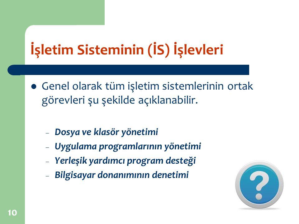 İşletim Sisteminin (İS) İşlevleri