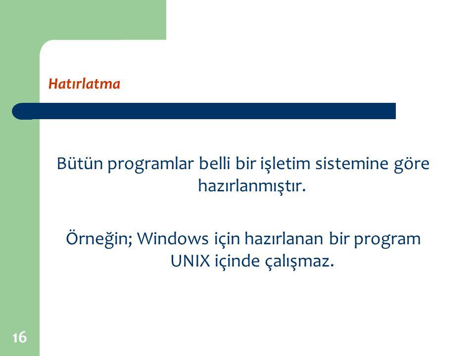 Bütün programlar belli bir işletim sistemine göre hazırlanmıştır.