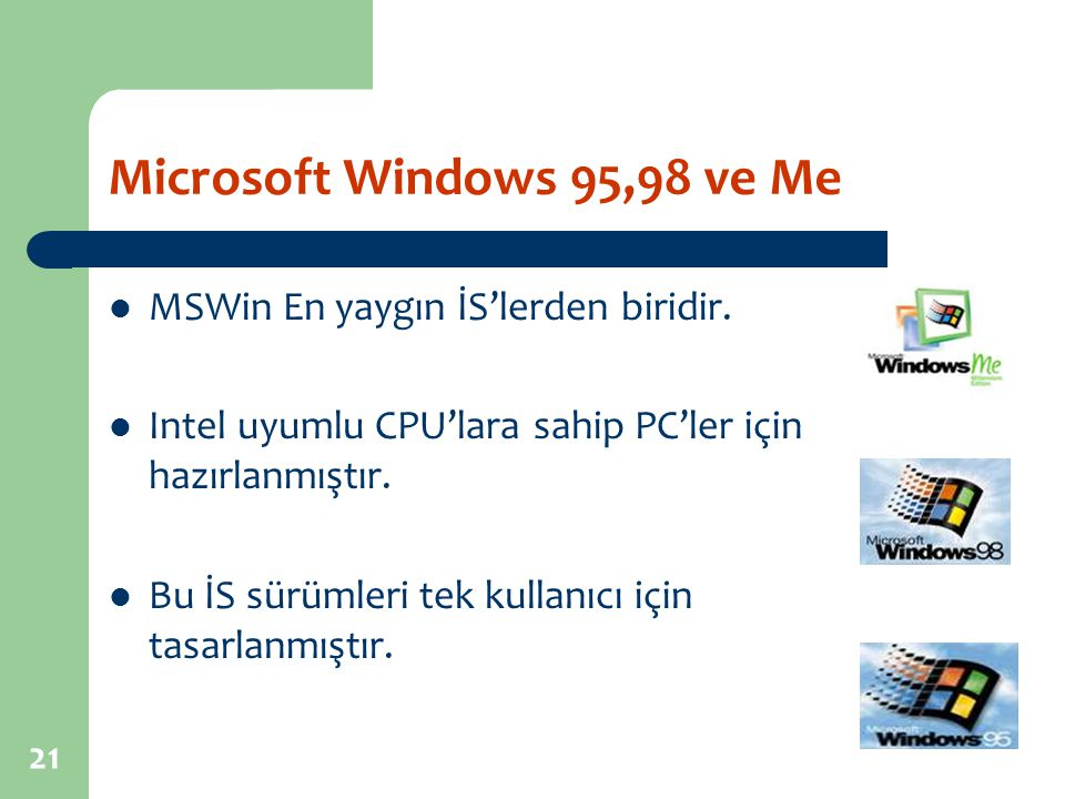 Microsoft Windows 95,98 ve Me