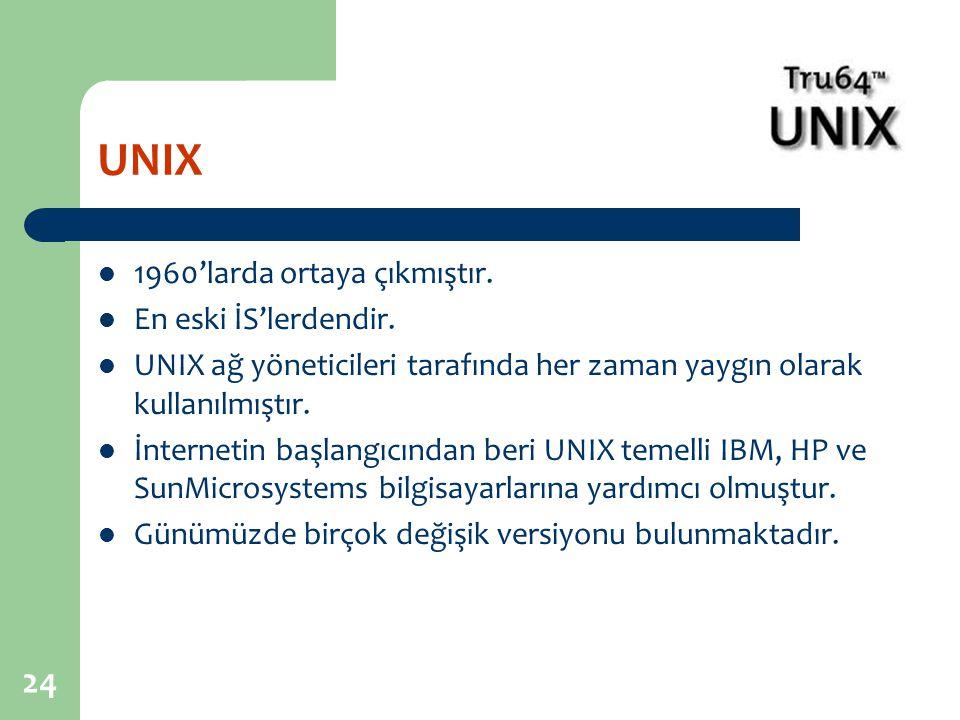 UNIX 1960'larda ortaya çıkmıştır. En eski İS'lerdendir.