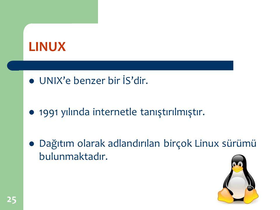 LINUX UNIX'e benzer bir İS'dir.