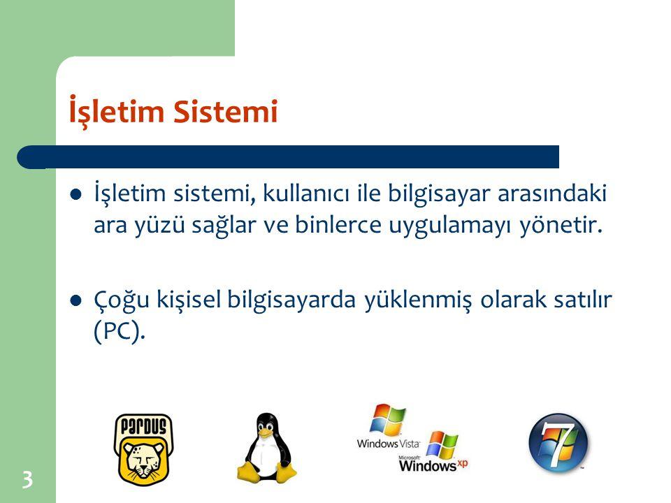 İşletim Sistemi İşletim sistemi, kullanıcı ile bilgisayar arasındaki ara yüzü sağlar ve binlerce uygulamayı yönetir.