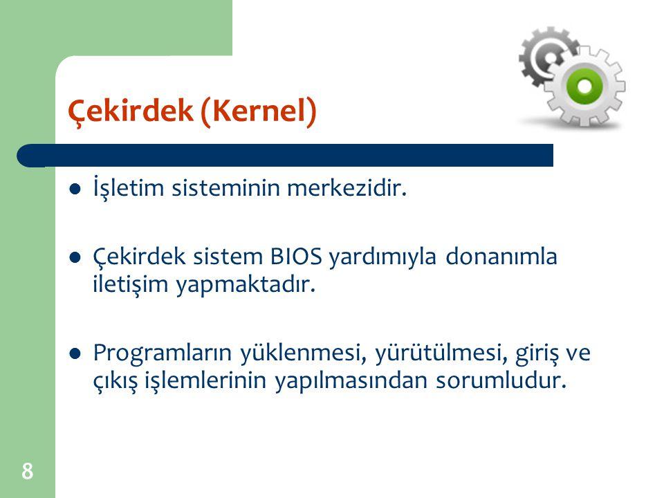 Çekirdek (Kernel) İşletim sisteminin merkezidir.