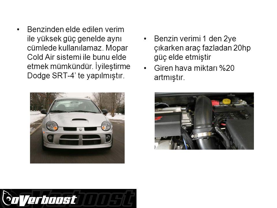 Benzinden elde edilen verim ile yüksek güç genelde aynı cümlede kullanılamaz. Mopar Cold Air sistemi ile bunu elde etmek mümkündür. İyileştirme Dodge SRT-4' te yapılmıştır.