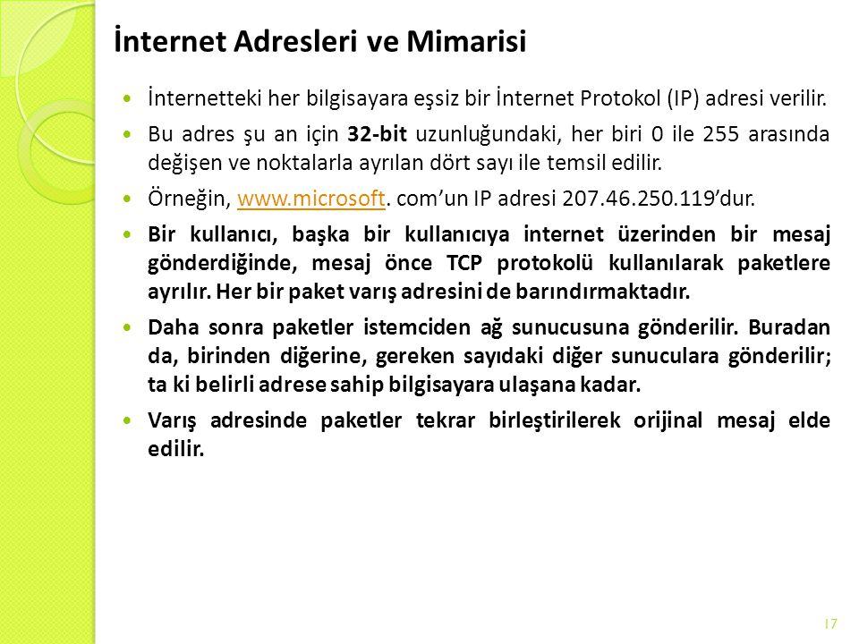 İnternet Adresleri ve Mimarisi