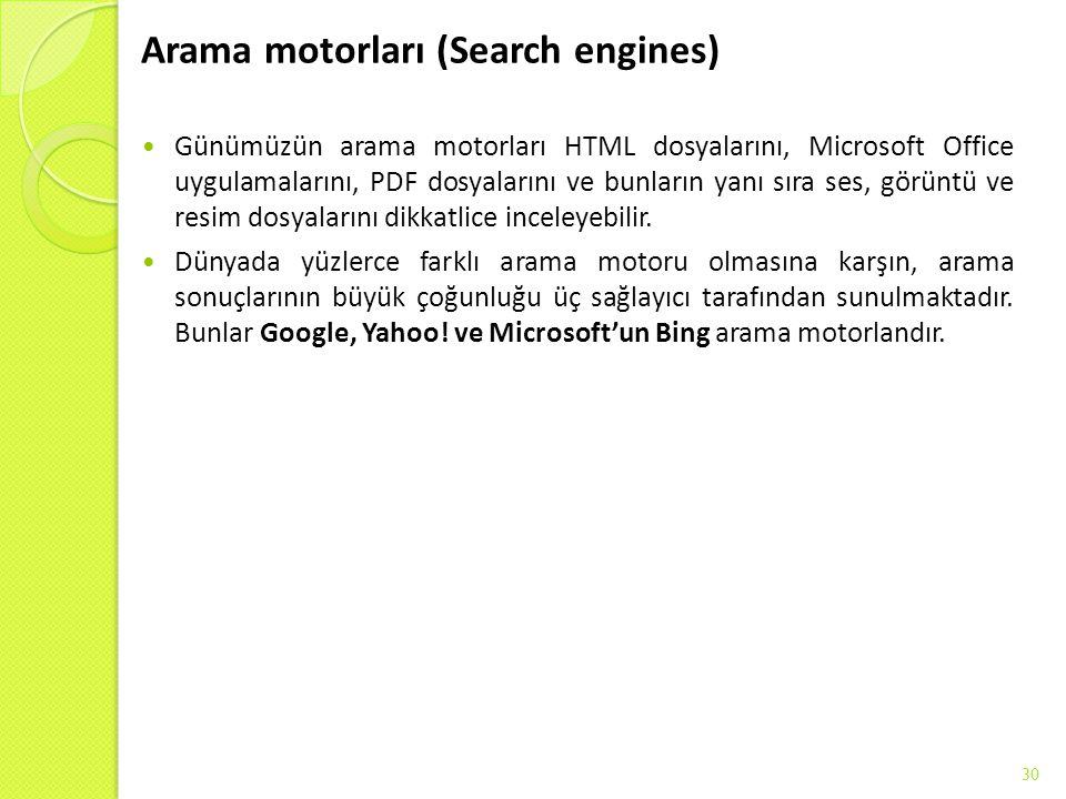 Arama motorları (Search engines)