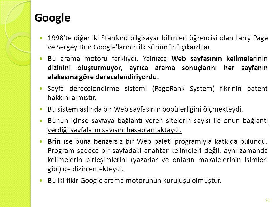 Google 1998'te diğer iki Stanford bilgisayar bilimleri öğrencisi olan Larry Page ve Sergey Brin Google larının ilk sürümünü çıkardılar.