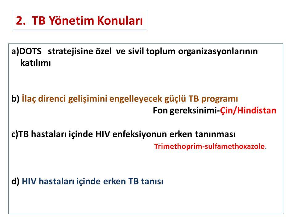 2. TB Yönetim Konuları a)DOTS stratejisine özel ve sivil toplum organizasyonlarının. katılımı.