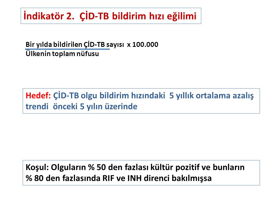 İndikatör 2. ÇİD-TB bildirim hızı eğilimi