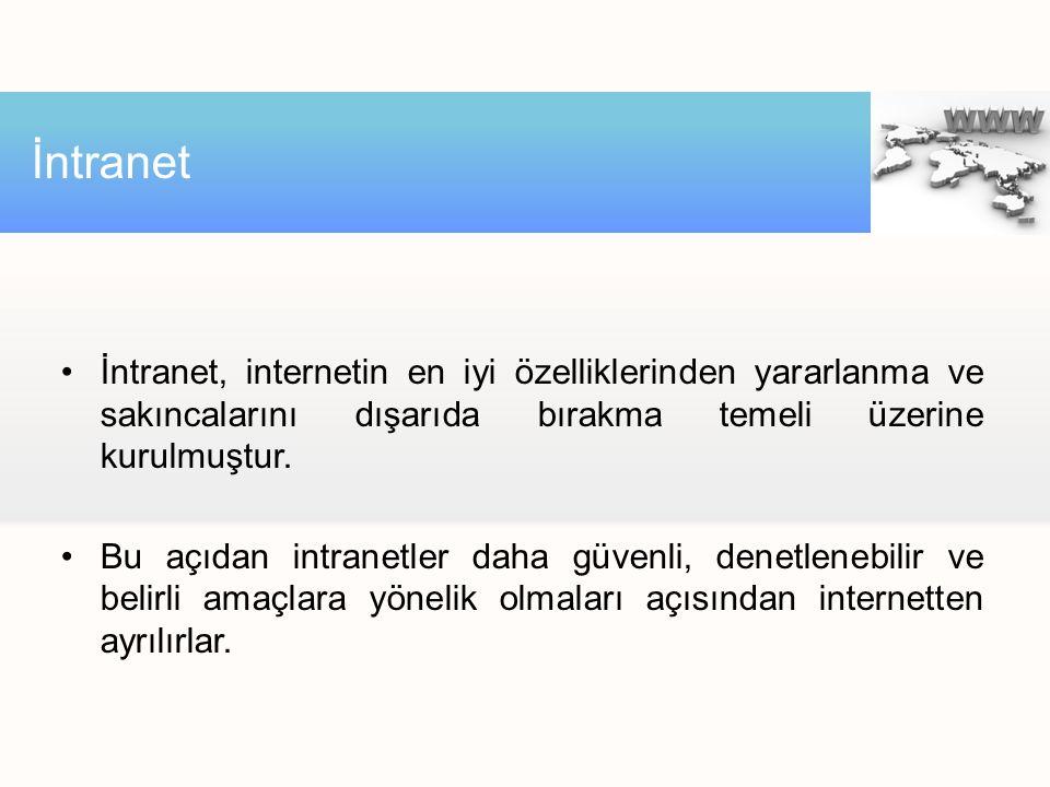 İntranet İntranet, internetin en iyi özelliklerinden yararlanma ve sakıncalarını dışarıda bırakma temeli üzerine kurulmuştur.