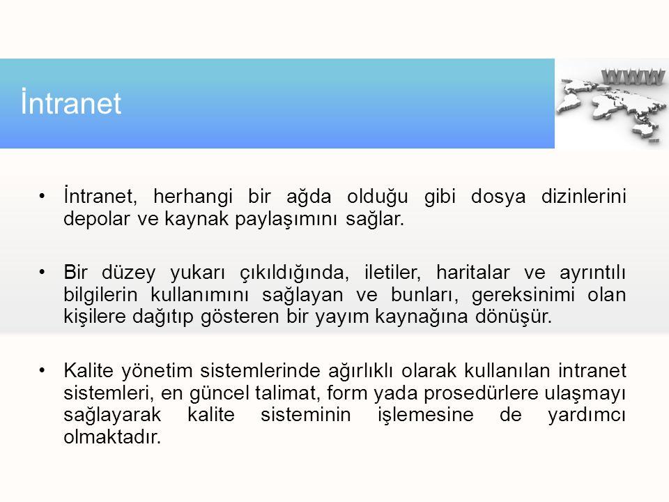 İntranet İntranet, herhangi bir ağda olduğu gibi dosya dizinlerini depolar ve kaynak paylaşımını sağlar.