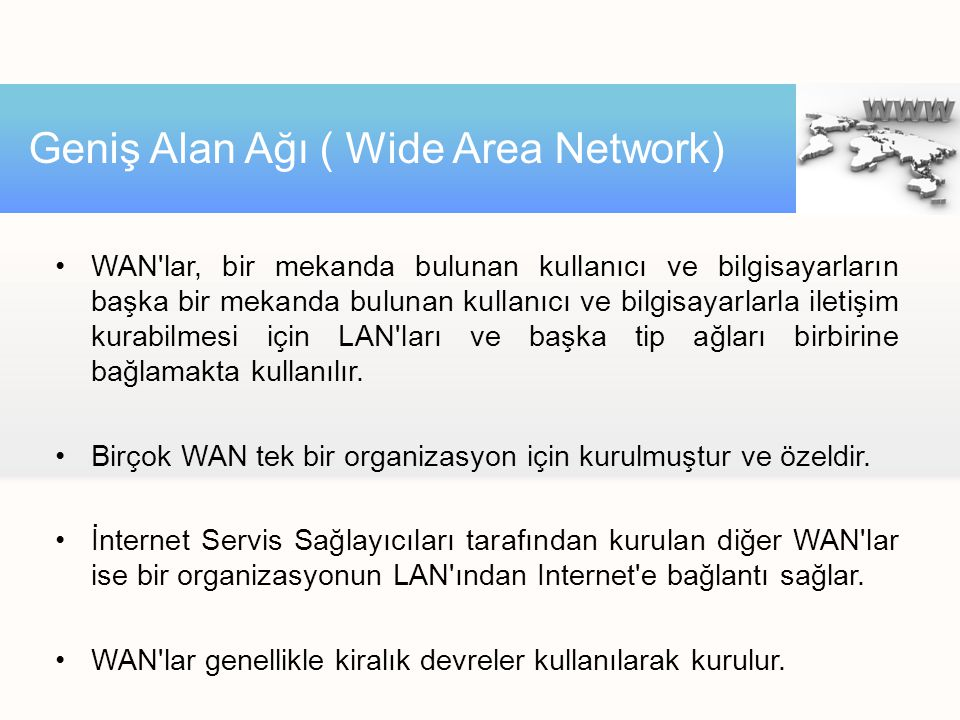 Geniş Alan Ağı ( Wide Area Network)