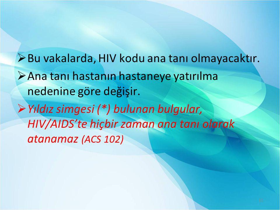 Bu vakalarda, HIV kodu ana tanı olmayacaktır.