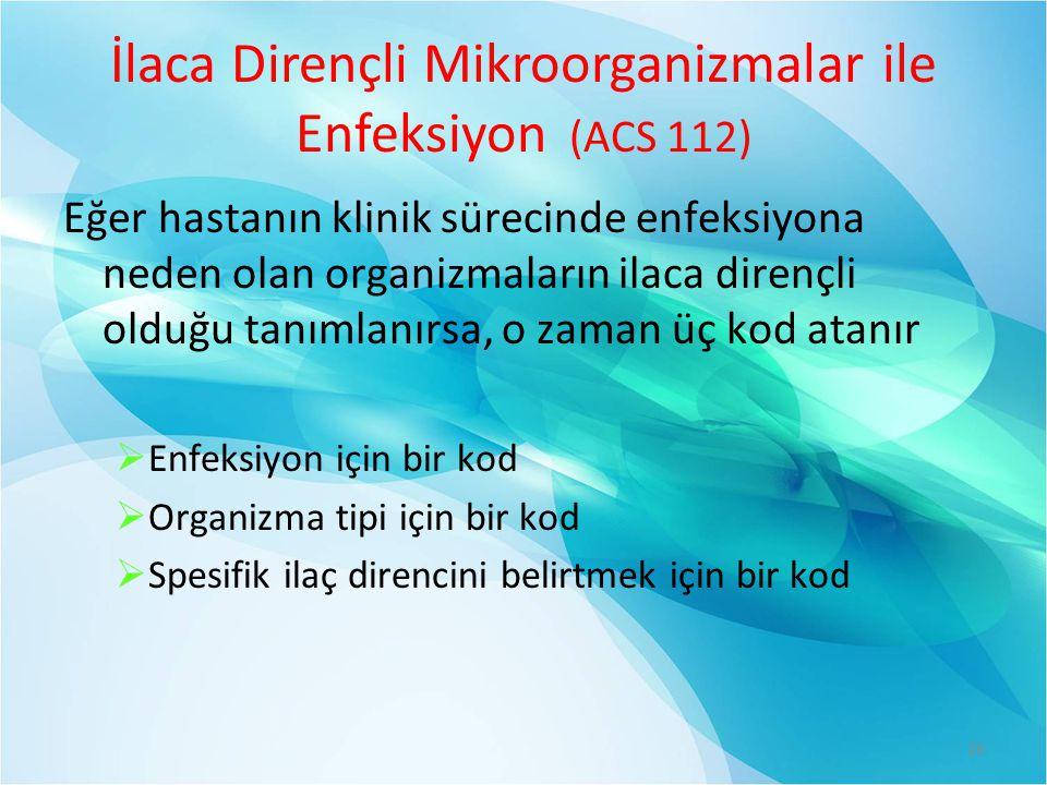 İlaca Dirençli Mikroorganizmalar ile Enfeksiyon (ACS 112)