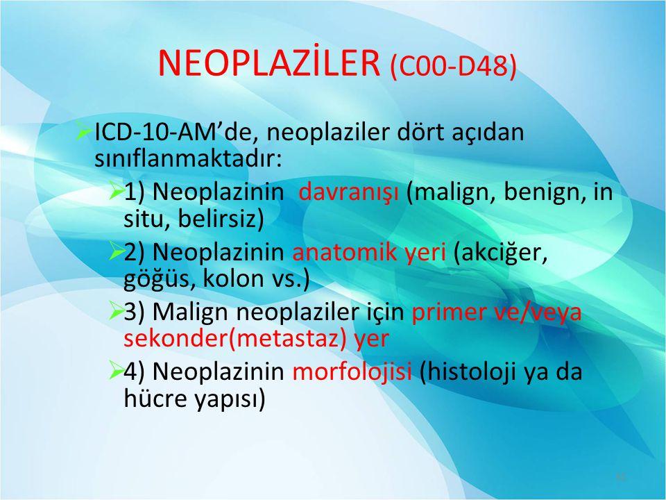 NEOPLAZİLER (C00-D48) ICD-10-AM'de, neoplaziler dört açıdan sınıflanmaktadır: 1) Neoplazinin davranışı (malign, benign, in situ, belirsiz)