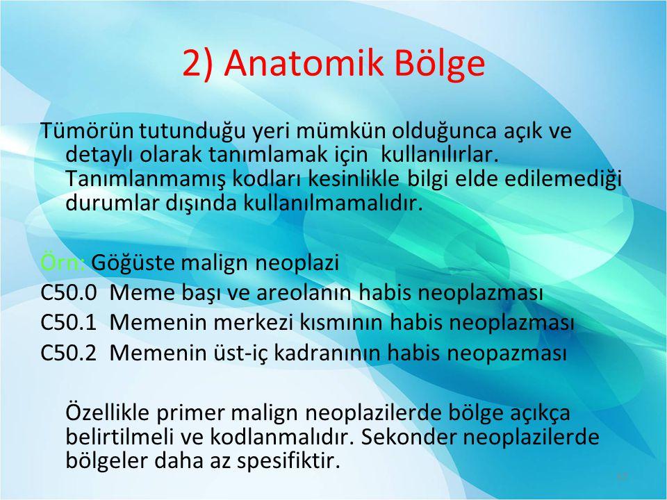 2) Anatomik Bölge