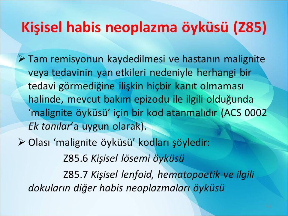 Kişisel habis neoplazma öyküsü (Z85)