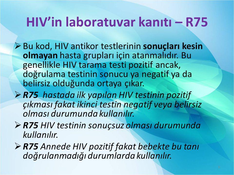HIV'in laboratuvar kanıtı – R75