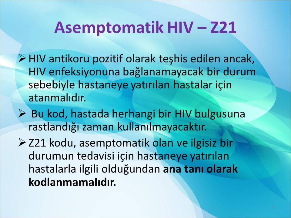 Asemptomatik HIV – Z21