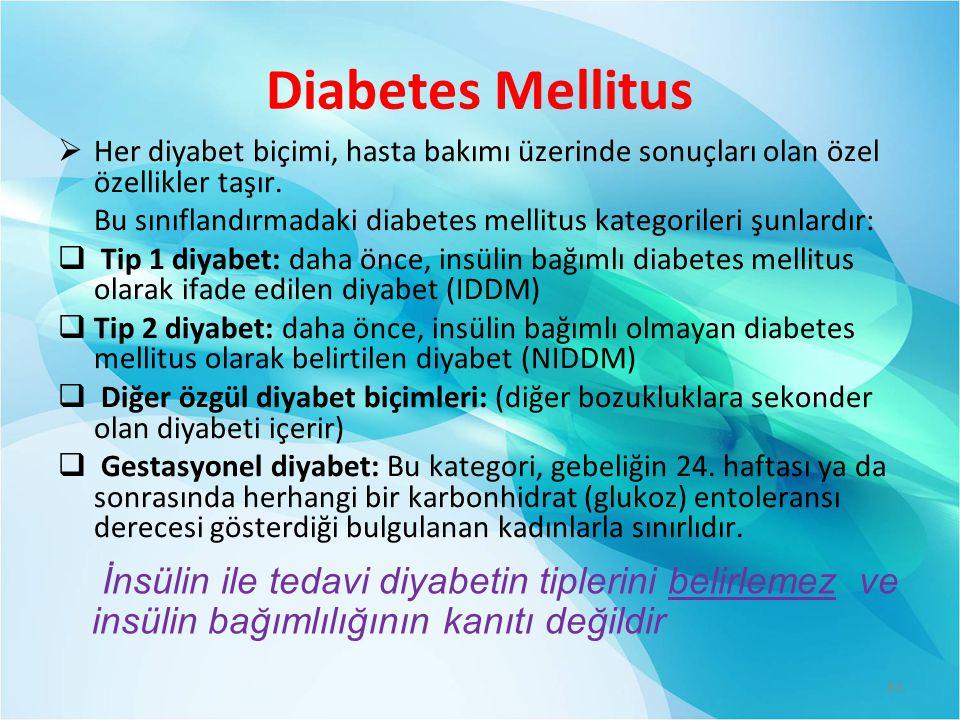 Diabetes Mellitus Her diyabet biçimi, hasta bakımı üzerinde sonuçları olan özel özellikler taşır.