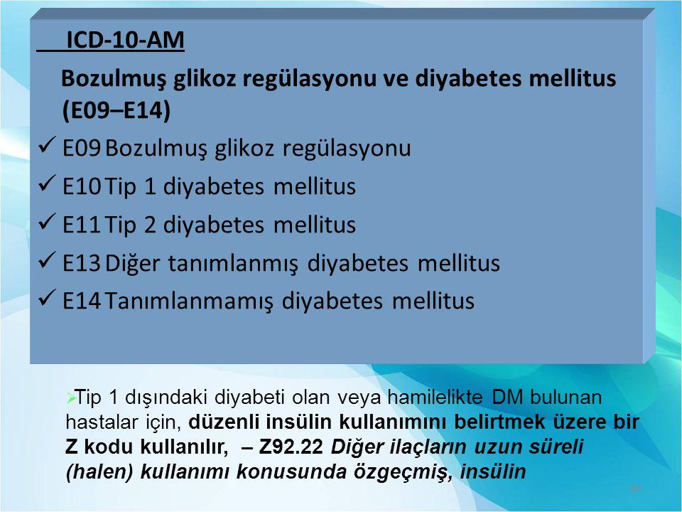 Bozulmuş glikoz regülasyonu ve diyabetes mellitus (E09–E14)