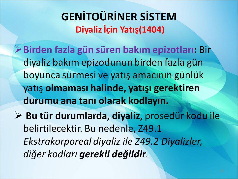 GENİTOÜRİNER SİSTEM Diyaliz İçin Yatış(1404)