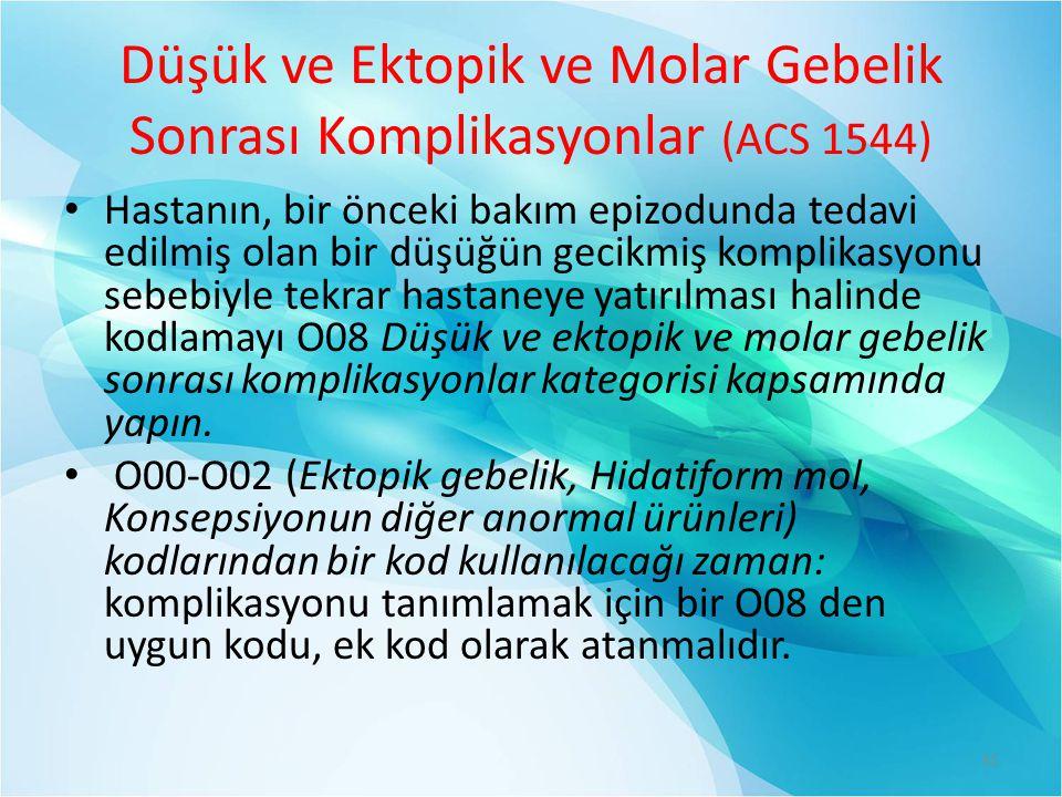 Düşük ve Ektopik ve Molar Gebelik Sonrası Komplikasyonlar (ACS 1544)