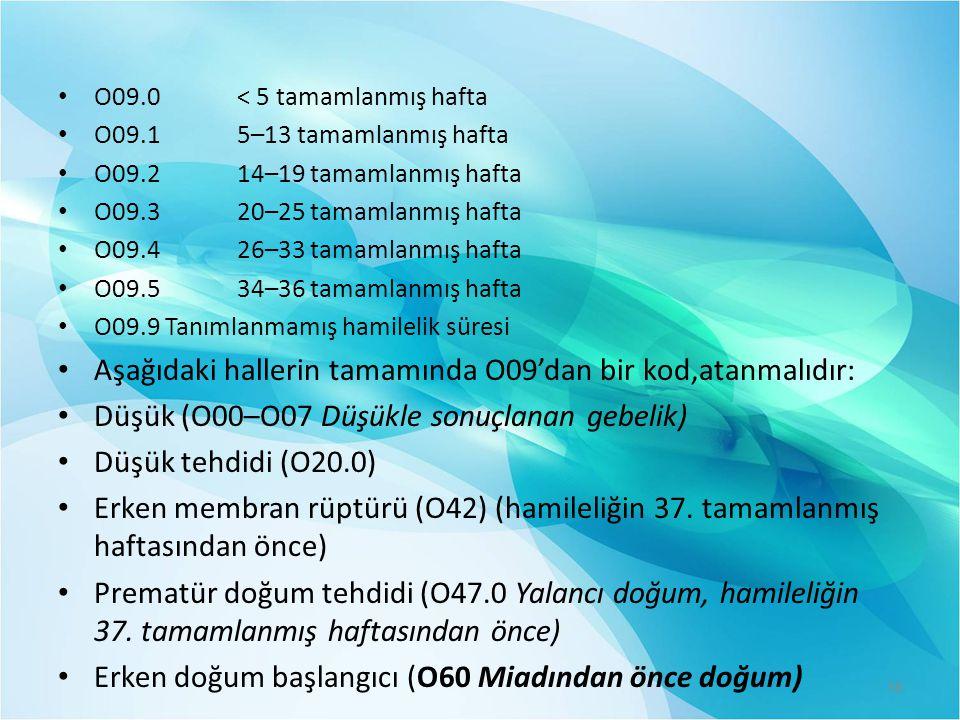 Aşağıdaki hallerin tamamında O09'dan bir kod,atanmalıdır: