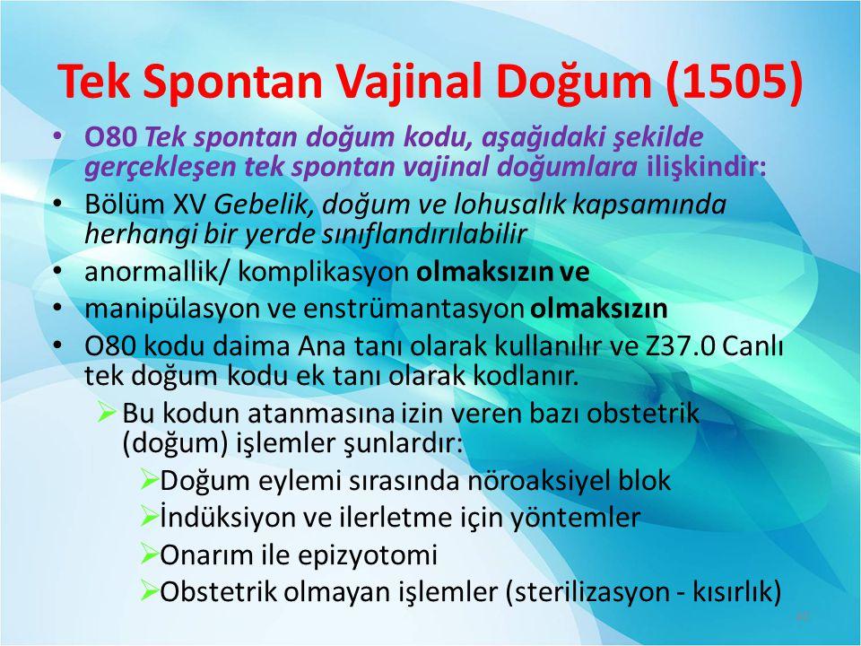 Tek Spontan Vajinal Doğum (1505)