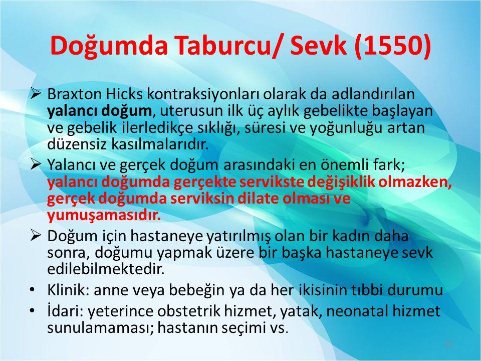 Doğumda Taburcu/ Sevk (1550)