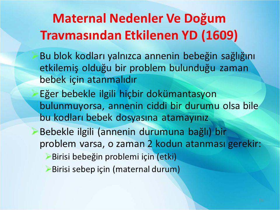 Maternal Nedenler Ve Doğum Travmasından Etkilenen YD (1609)