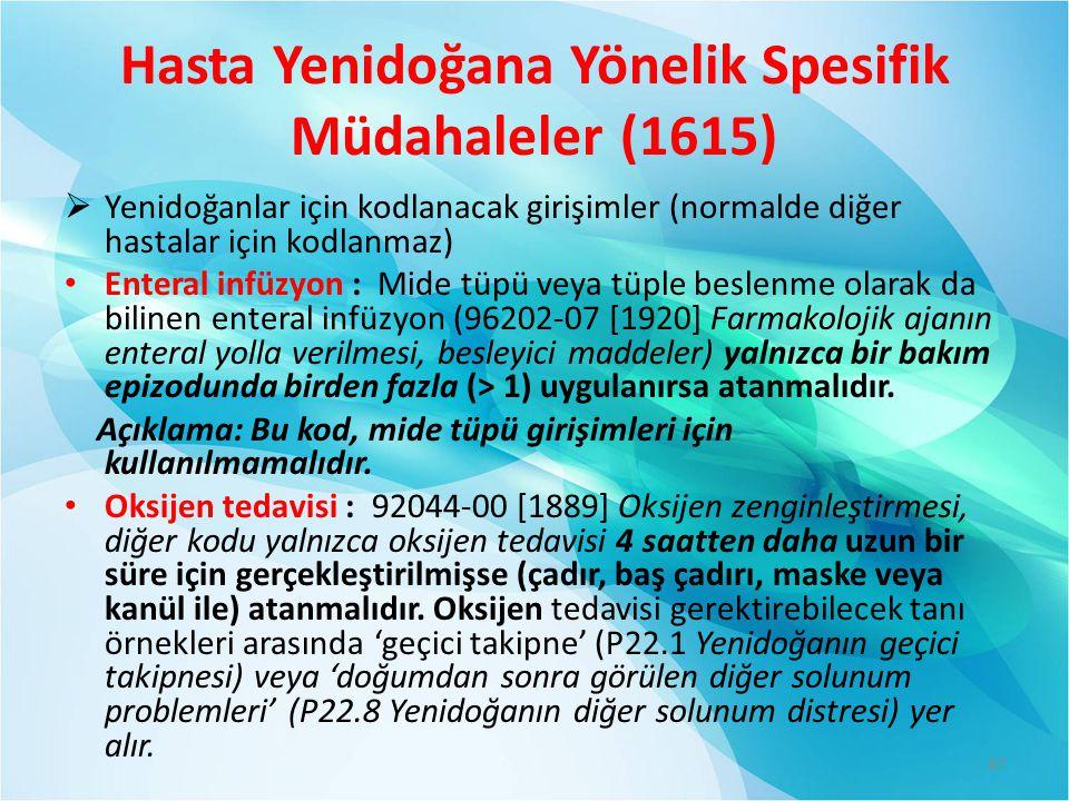 Hasta Yenidoğana Yönelik Spesifik Müdahaleler (1615)