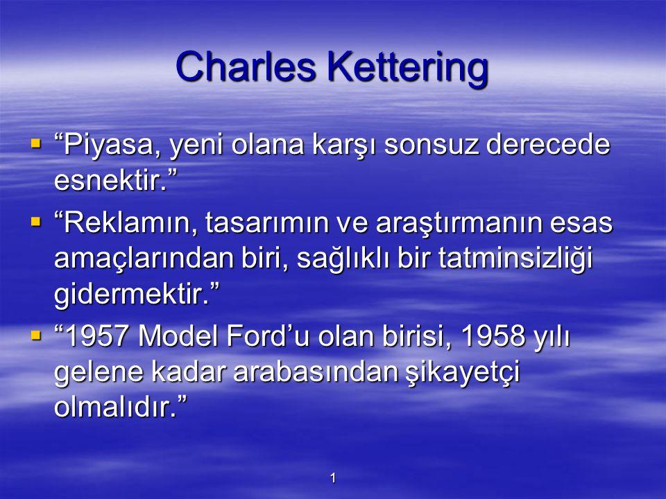 Charles Kettering Piyasa, yeni olana karşı sonsuz derecede esnektir.