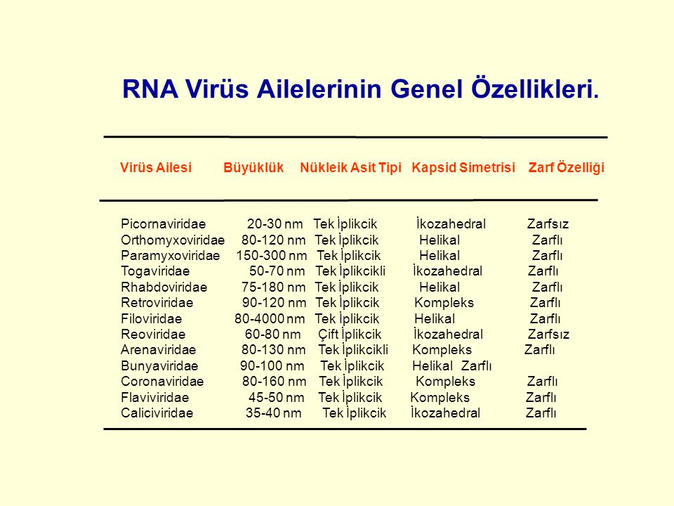 Virüs Ailesi Büyüklük Nükleik Asit Tipi Kapsid Simetrisi Zarf Özelliği