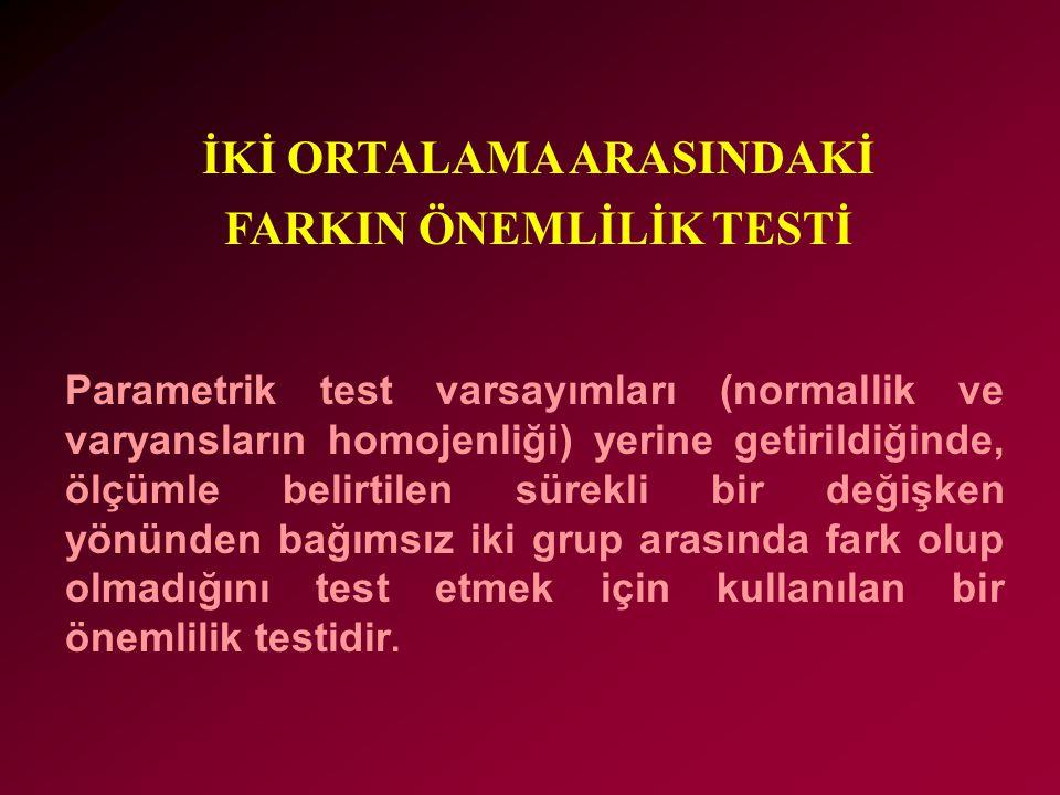 İKİ ORTALAMA ARASINDAKİ FARKIN ÖNEMLİLİK TESTİ
