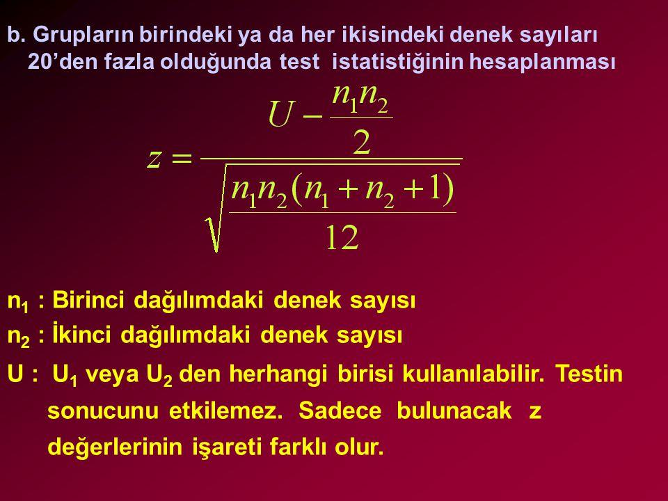 n1 : Birinci dağılımdaki denek sayısı