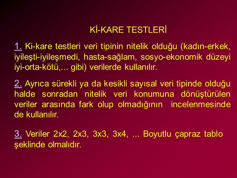 Kİ-KARE TESTLERİ