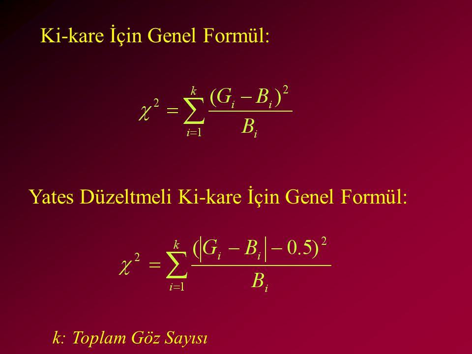 Ki-kare İçin Genel Formül: