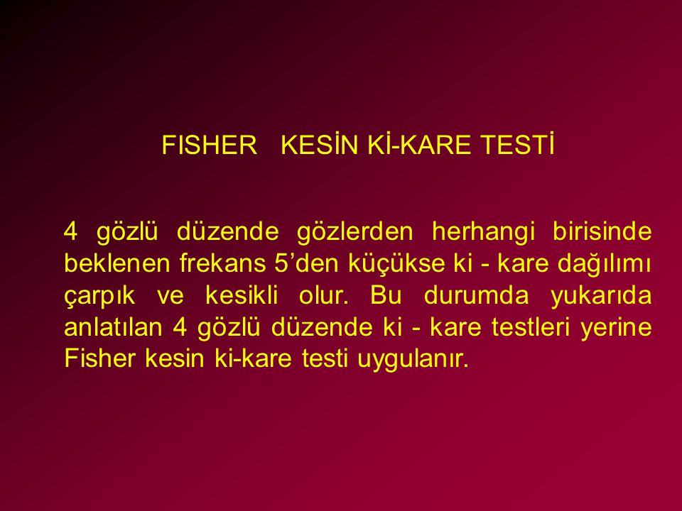FISHER KESİN Kİ-KARE TESTİ