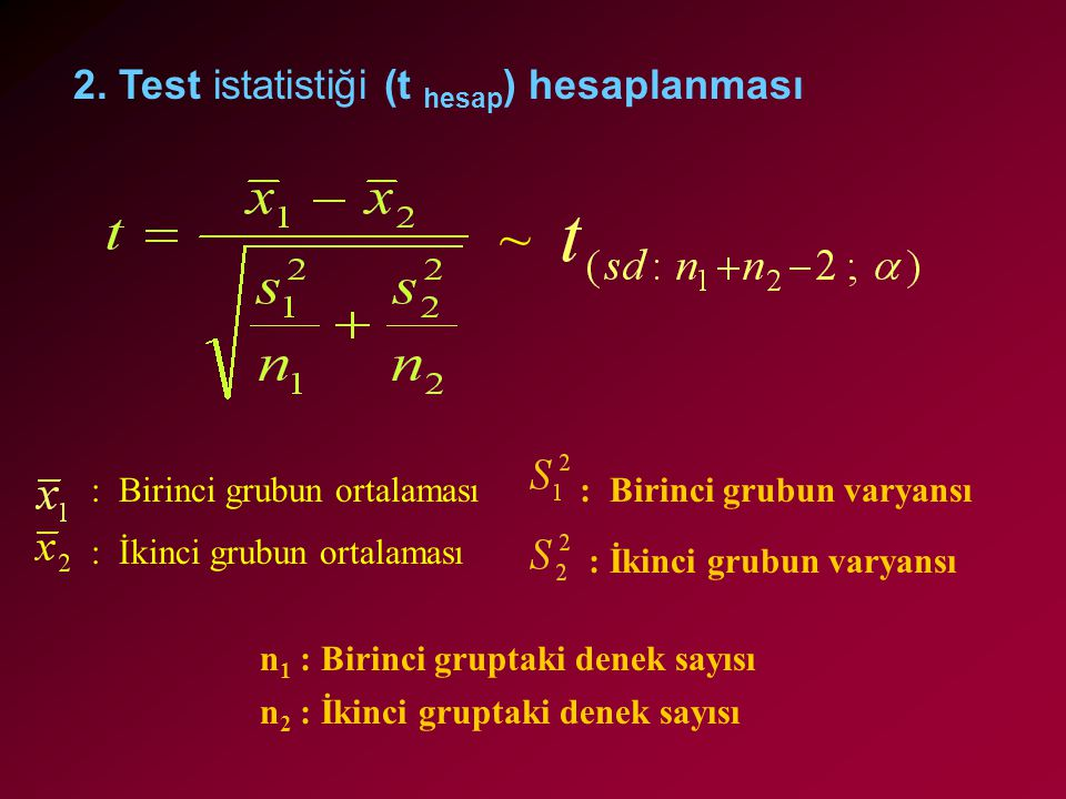 ~ 2. Test istatistiği (t hesap) hesaplanması : Birinci grubun varyansı